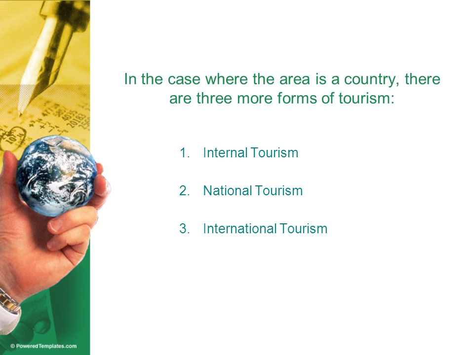 In the case where the area is a country, there are three more forms of tourism: