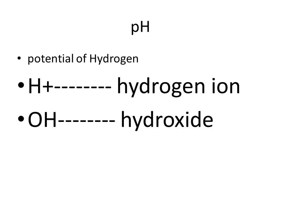 H+-------- hydrogen ion OH-------- hydroxide