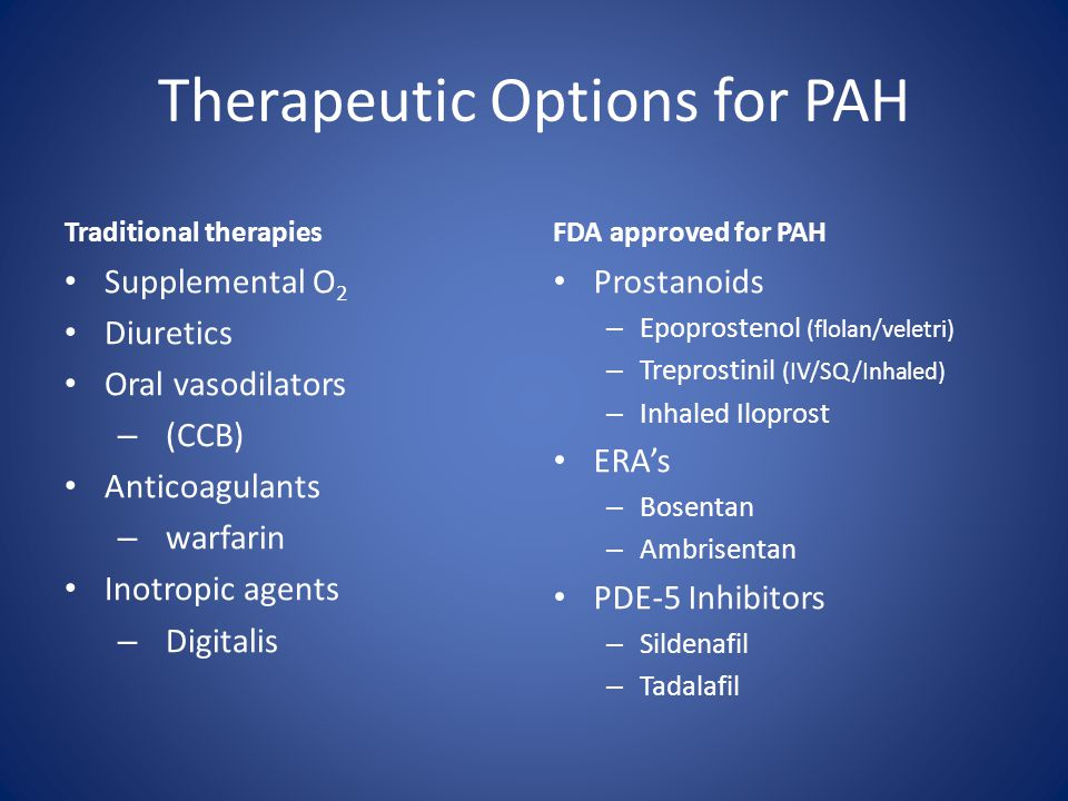 Therapeutic Options for PAH