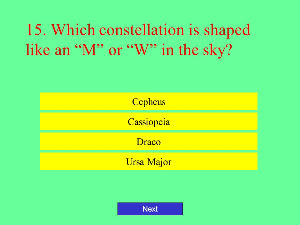 15. Which constellation is shaped like an M or W in the sky