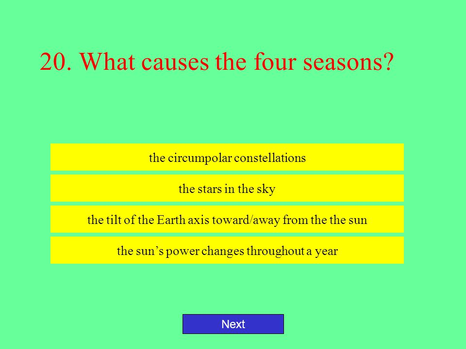 20. What causes the four seasons