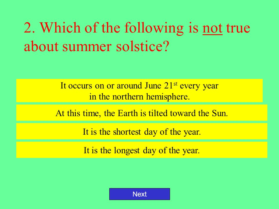 2. Which of the following is not true about summer solstice