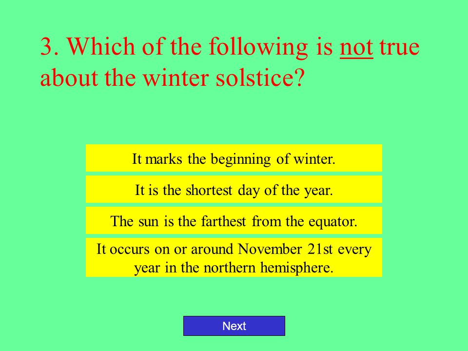 3. Which of the following is not true about the winter solstice