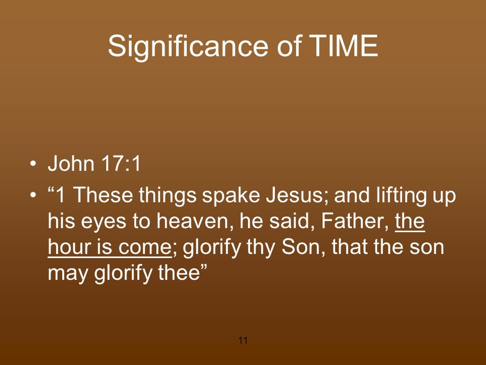 Significance of TIME John 17:1