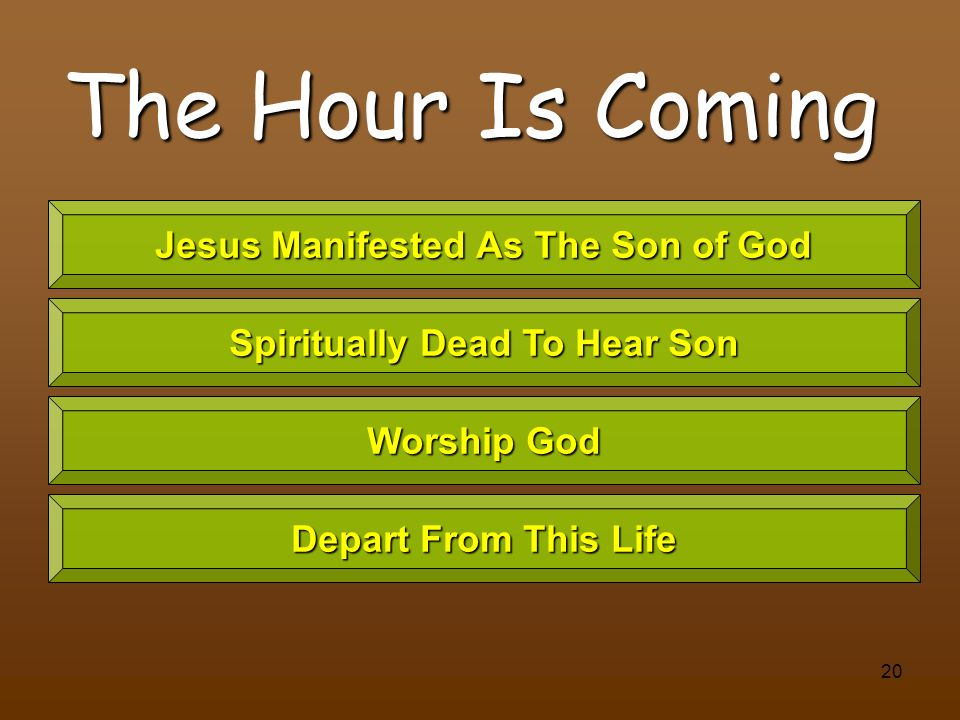 Jesus Manifested As The Son of God Spiritually Dead To Hear Son
