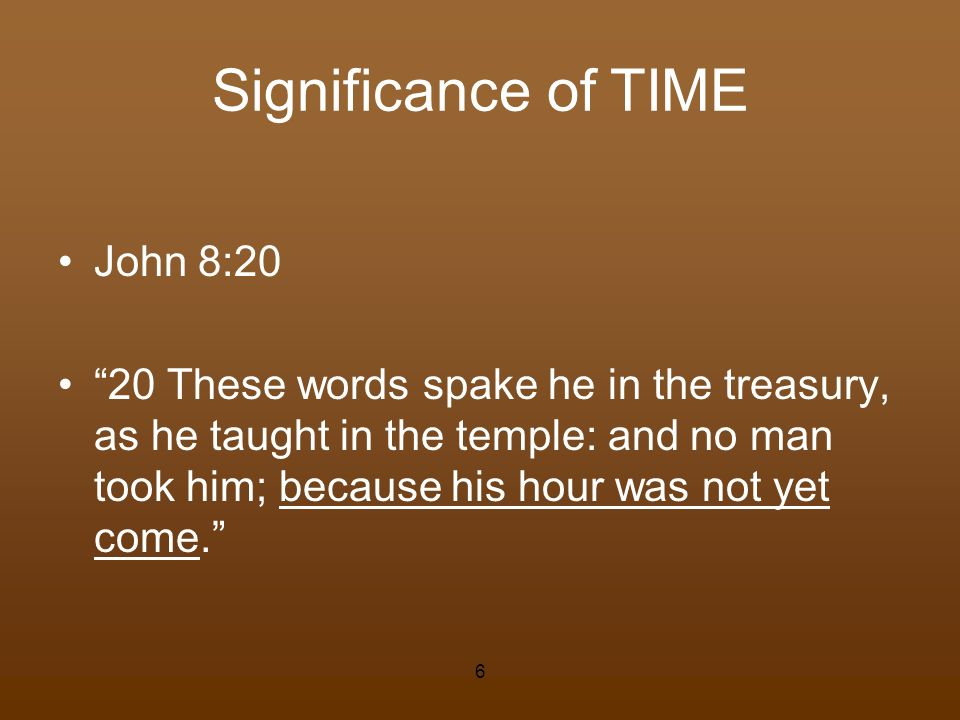 Significance of TIME John 8:20