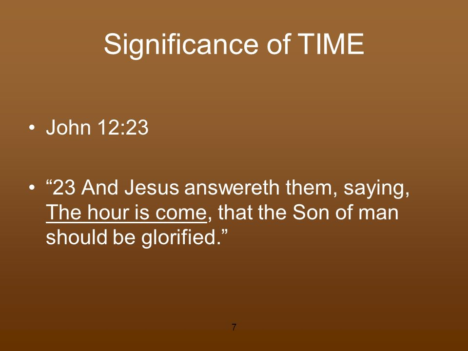 Significance of TIME John 12:23