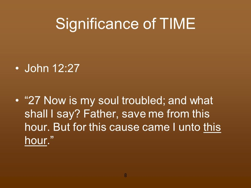 Significance of TIME John 12:27