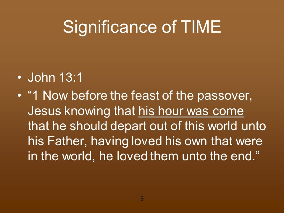 Significance of TIME John 13:1