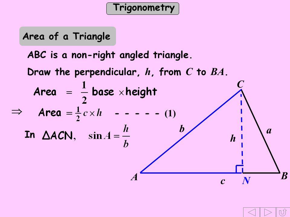 C b a c A B h N Area of a Triangle ABC is a non-right angled triangle.