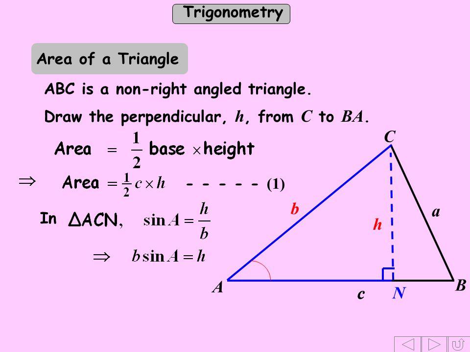 h b a c C N A B Area of a Triangle ABC is a non-right angled triangle.