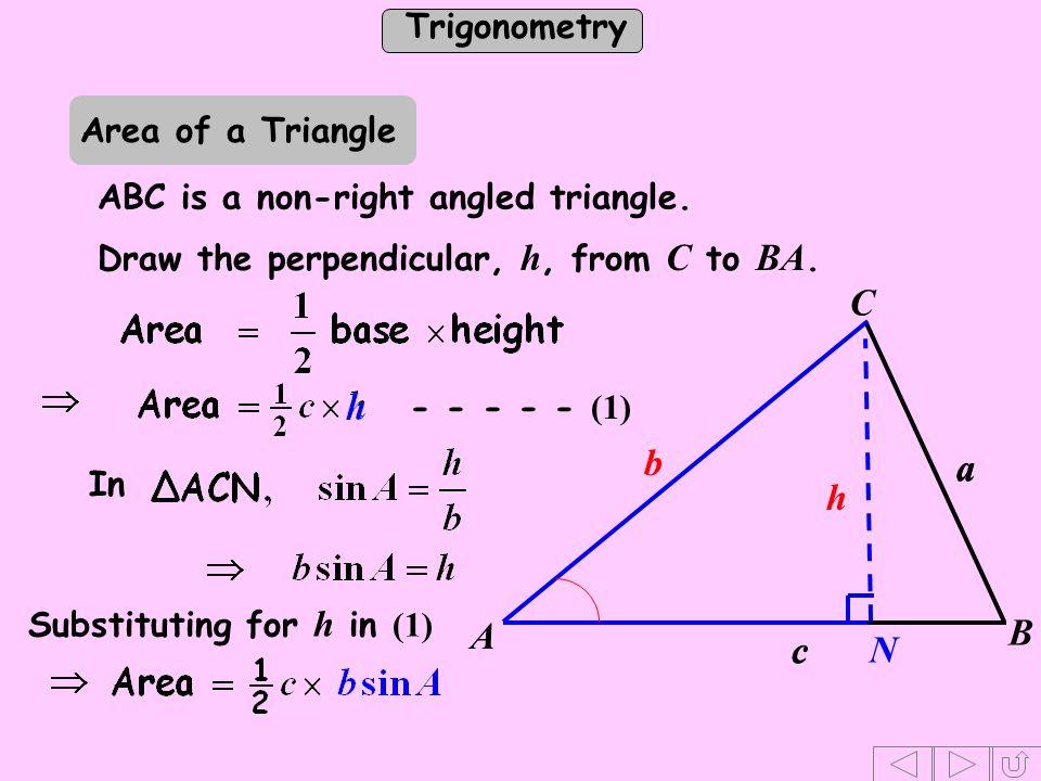 h b a c C N B A Area of a Triangle ABC is a non-right angled triangle.
