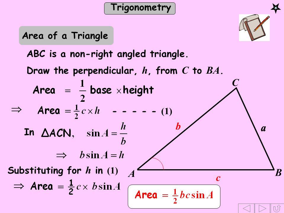 C b a a B A c Area of a Triangle ABC is a non-right angled triangle.