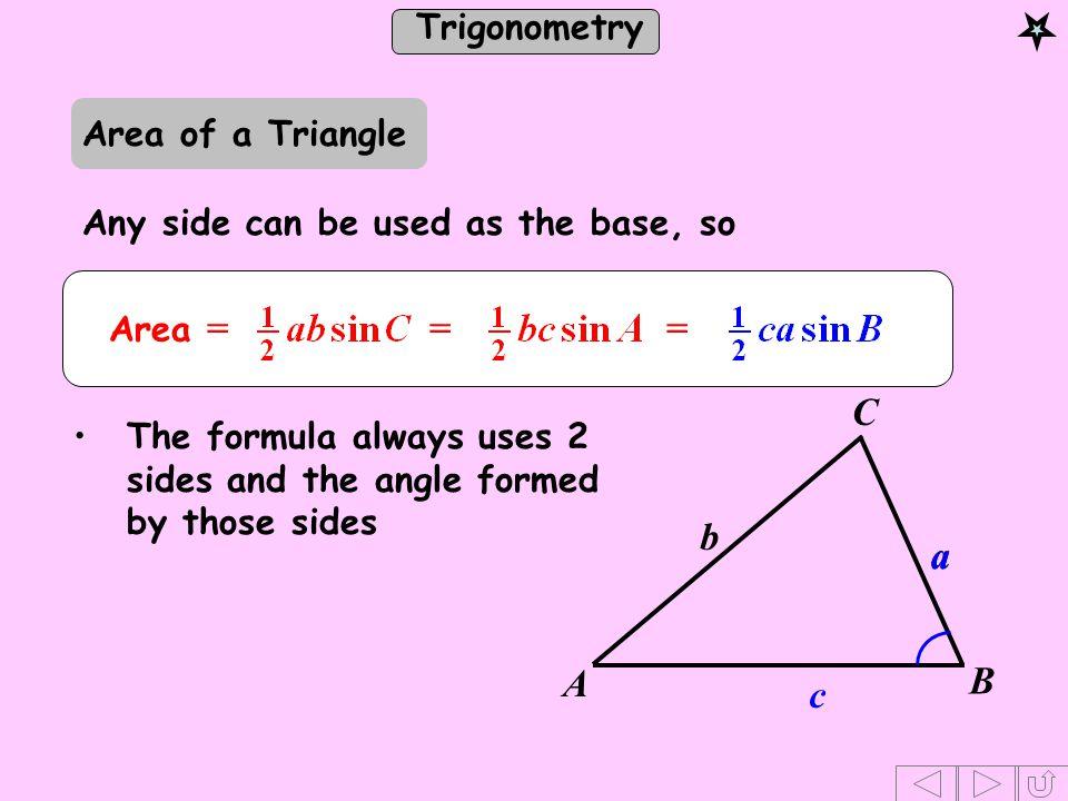 C b a A B c Area of a Triangle Any side can be used as the base, so