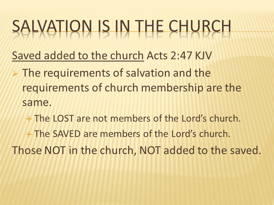 Salvation Is In The Church