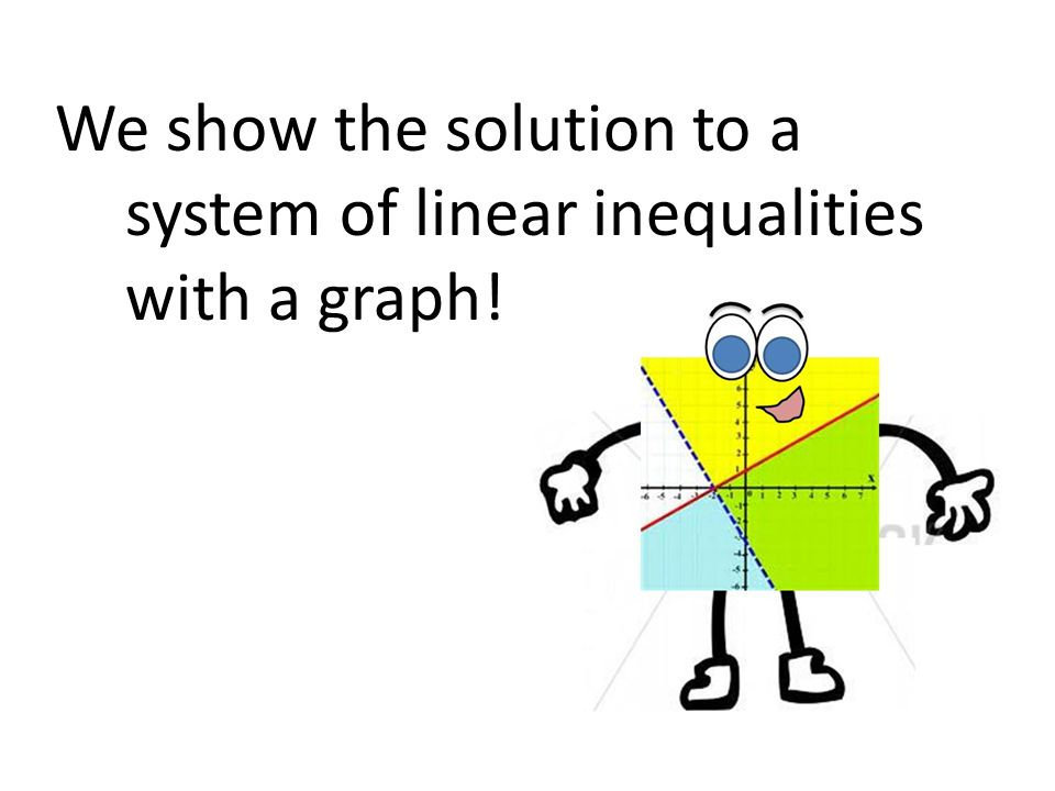 We show the solution to a system of linear inequalities with a graph!