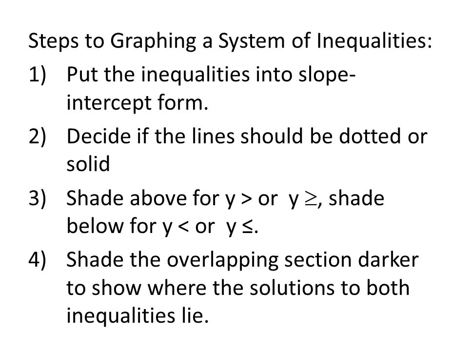 Steps to Graphing a System of Inequalities:
