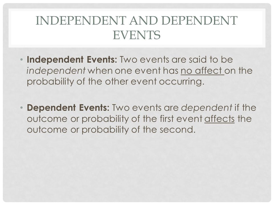 Independent and Dependent Events