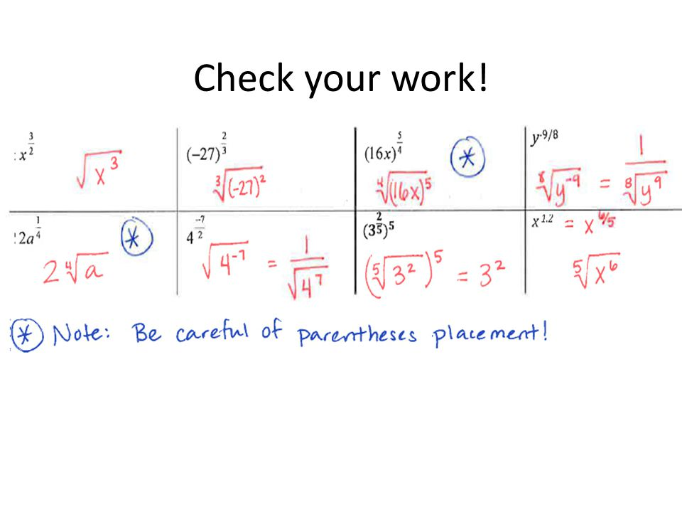 Check your work! Work out the first couple of examples before letting students practice in groups.