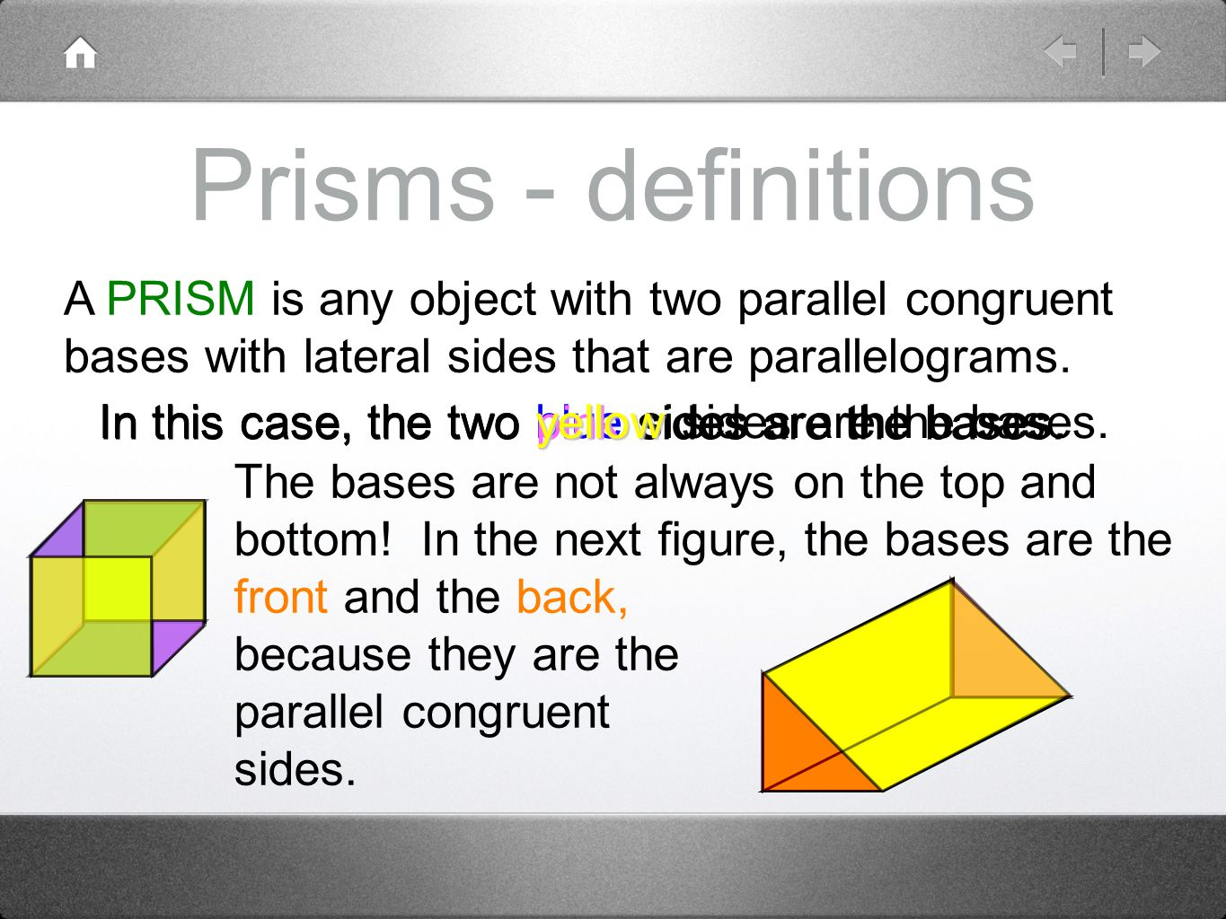 Prisms - definitions A PRISM is any object with two parallel congruent bases with lateral sides that are parallelograms.