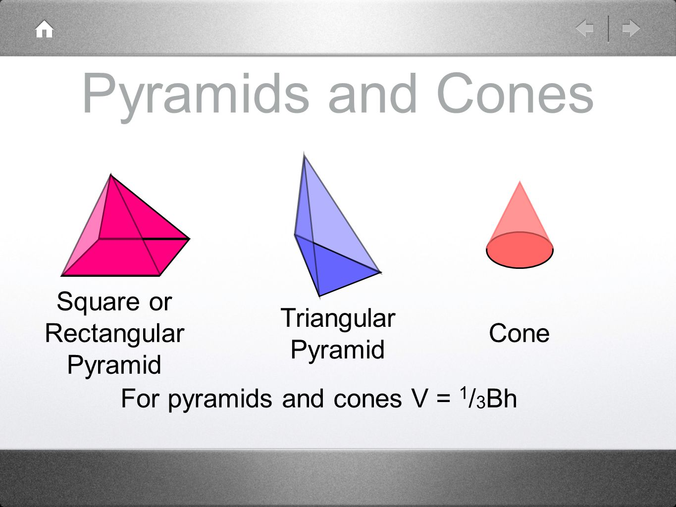 For pyramids and cones V = 1/3Bh