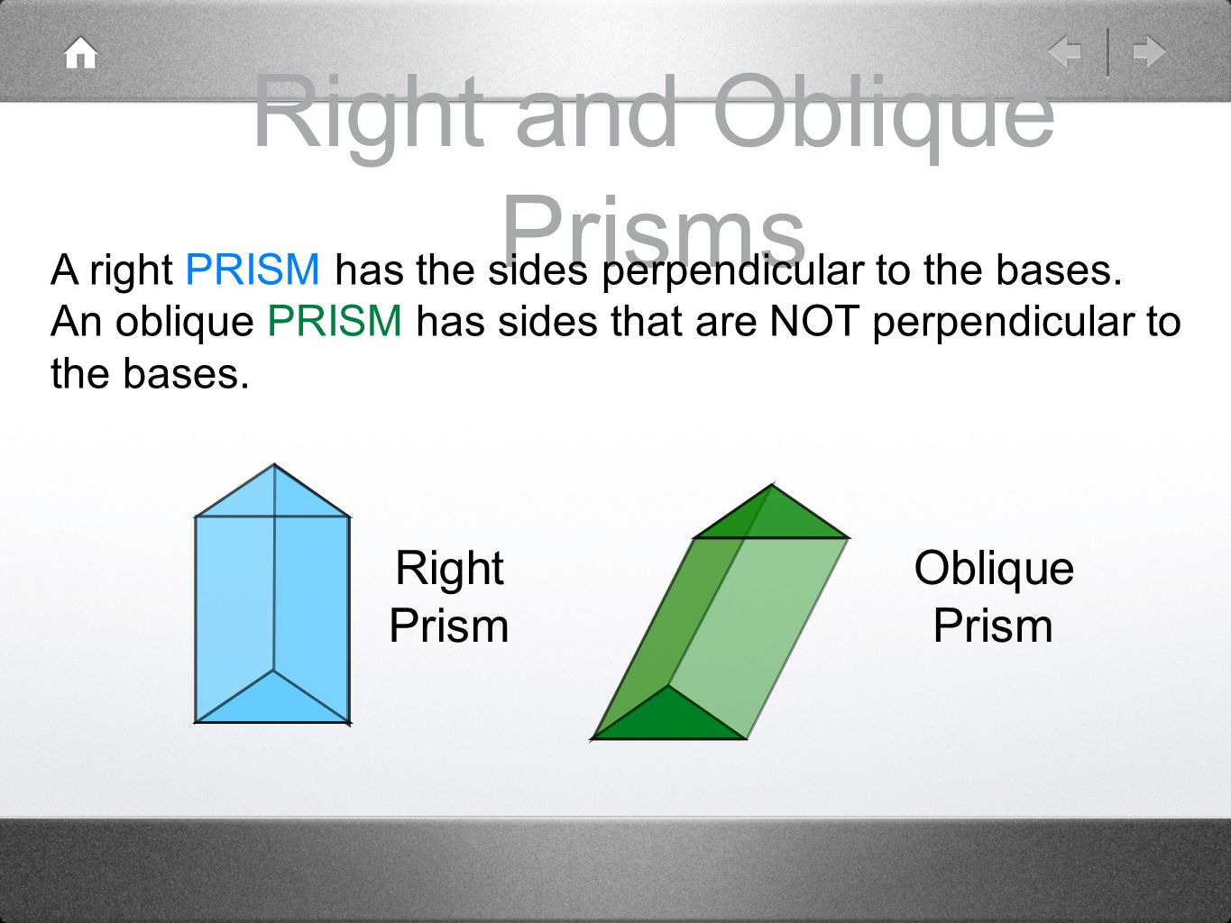 Right and Oblique Prisms