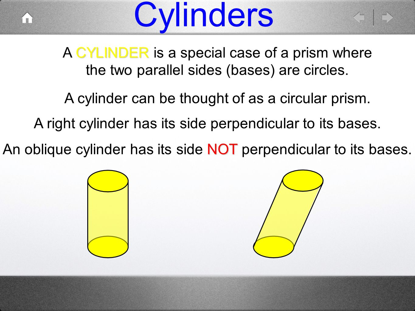 Cylinders A CYLINDER is a special case of a prism where the two parallel sides (bases) are circles.