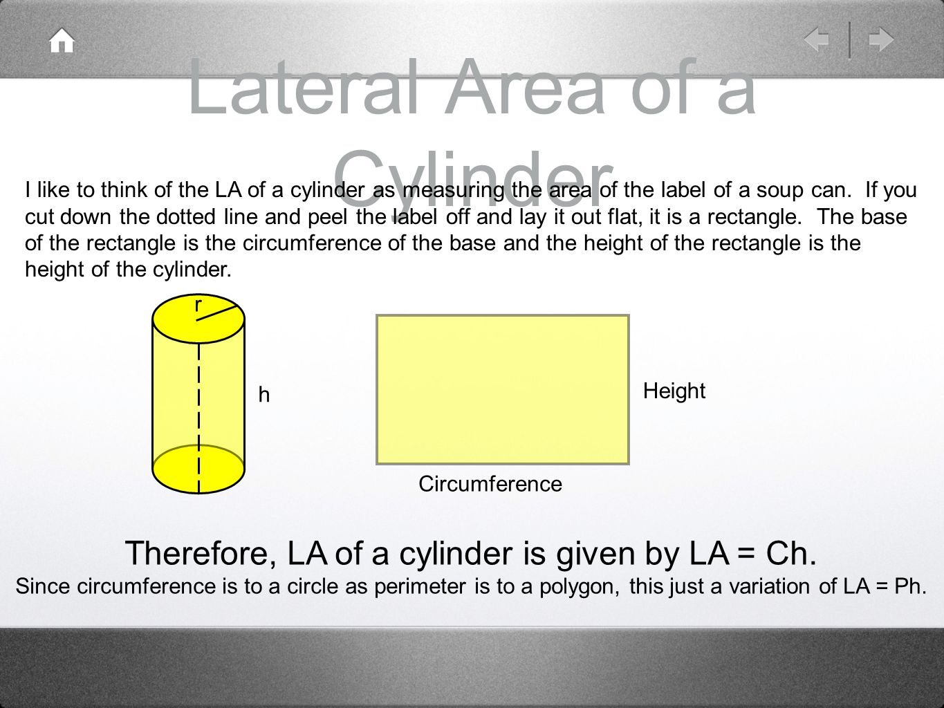 Lateral Area of a Cylinder