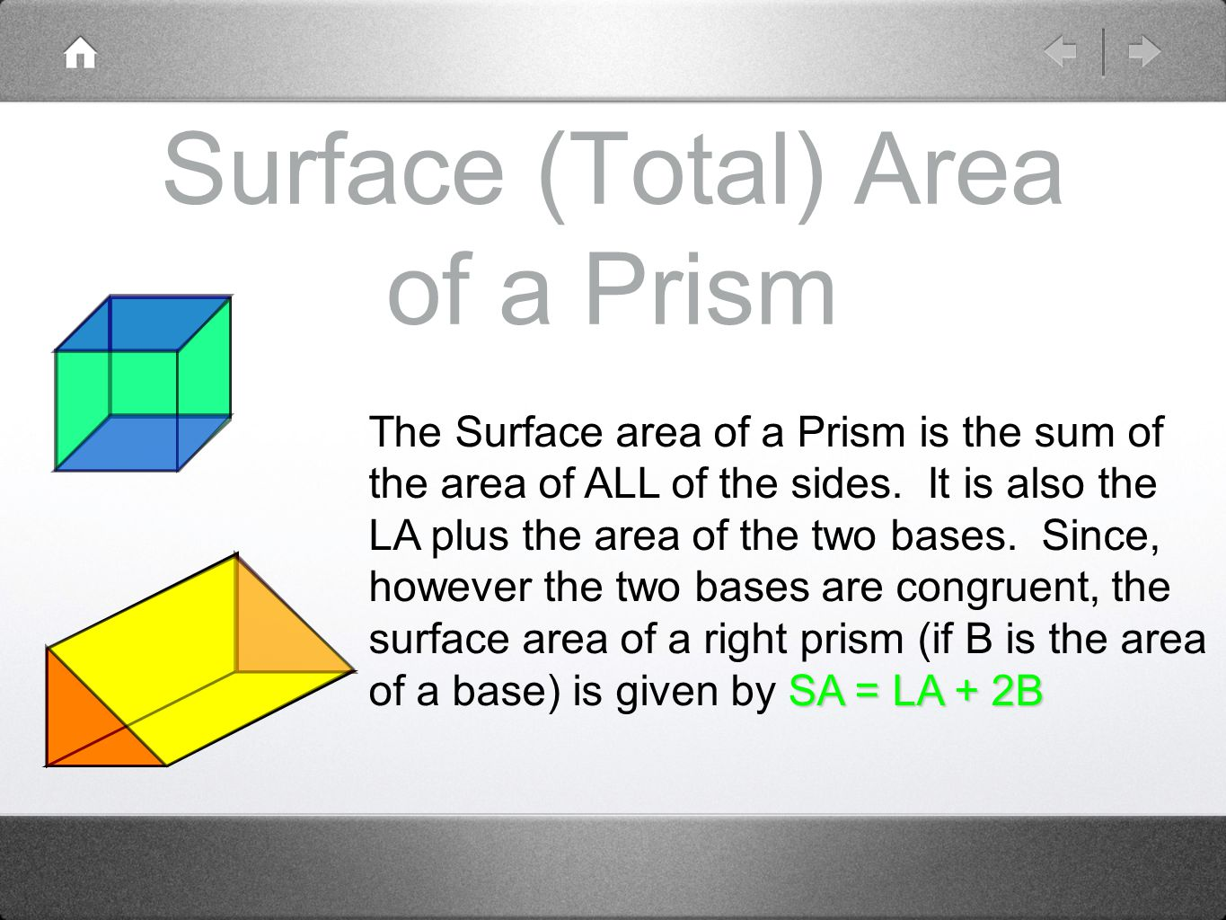 Surface (Total) Area of a Prism