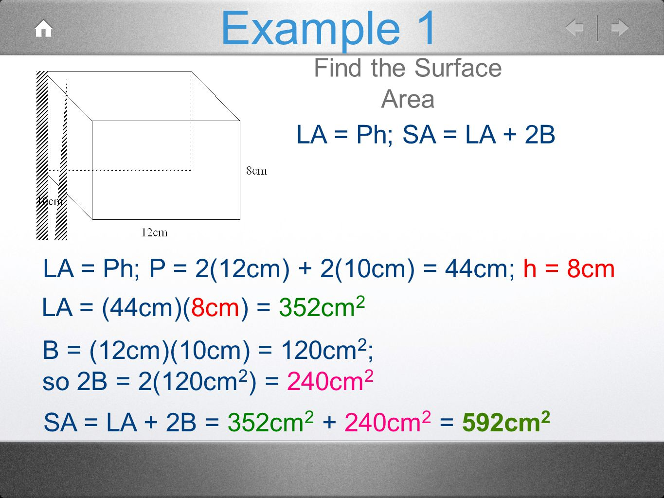 Example 1 Find the Surface Area LA = Ph; SA = LA + 2B