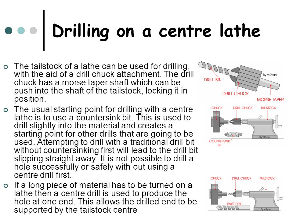 Drilling on a centre lathe