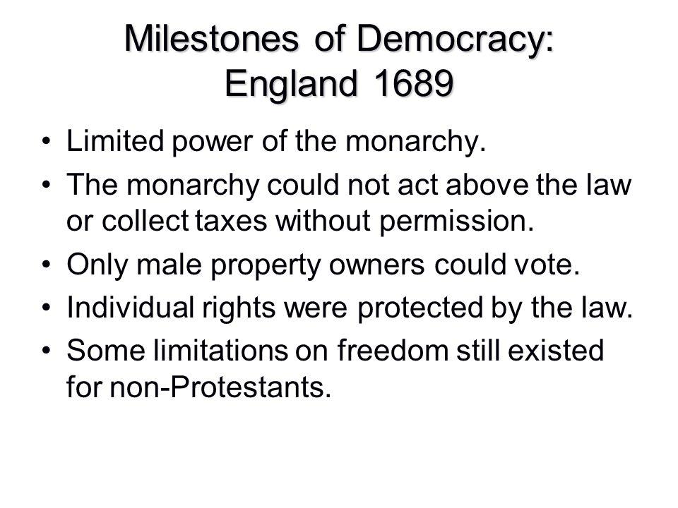 Milestones of Democracy: England 1689