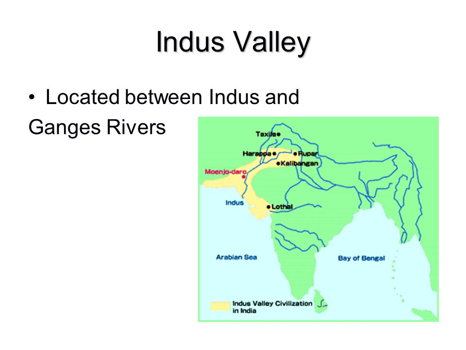 Indus Valley Located between Indus and Ganges Rivers