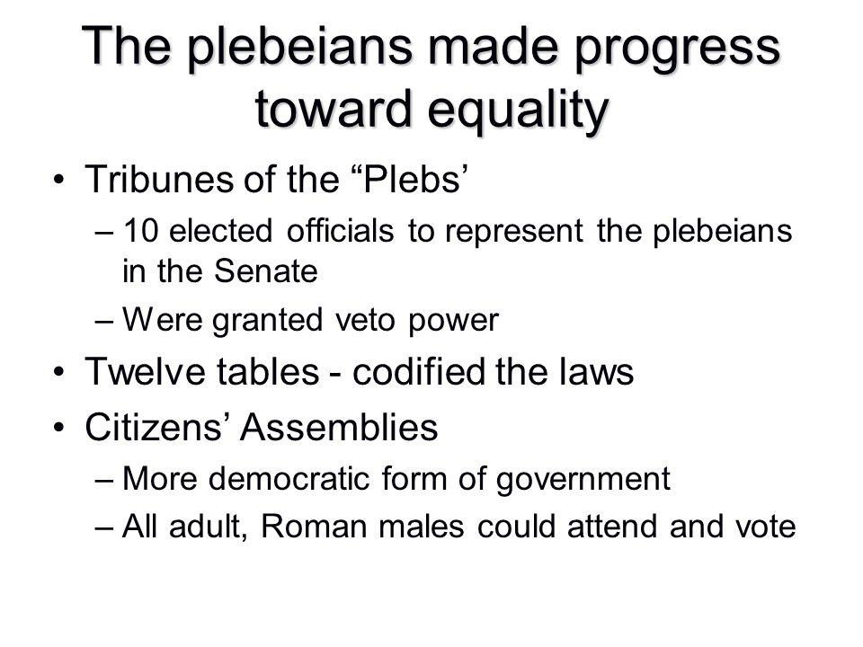 The plebeians made progress toward equality