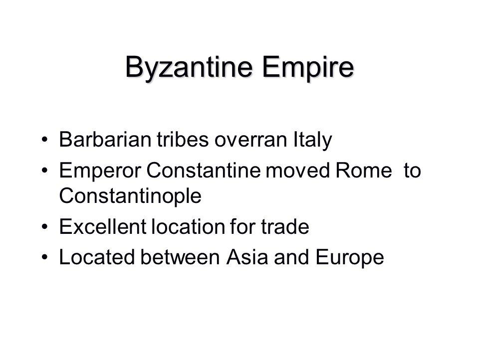 Byzantine Empire Barbarian tribes overran Italy