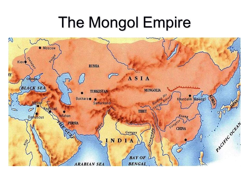 The Mongol Empire 4 regions or khanates Mongolia and China