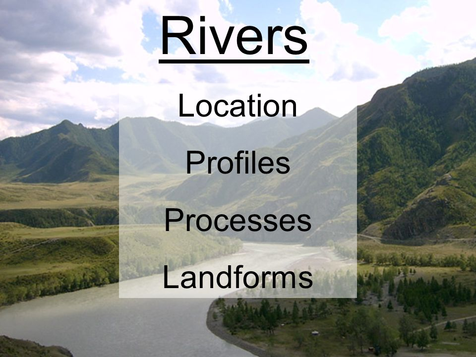 Rivers Location Profiles Processes Landforms