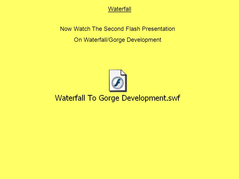 Now Watch The Second Flash Presentation On Waterfall/Gorge Development