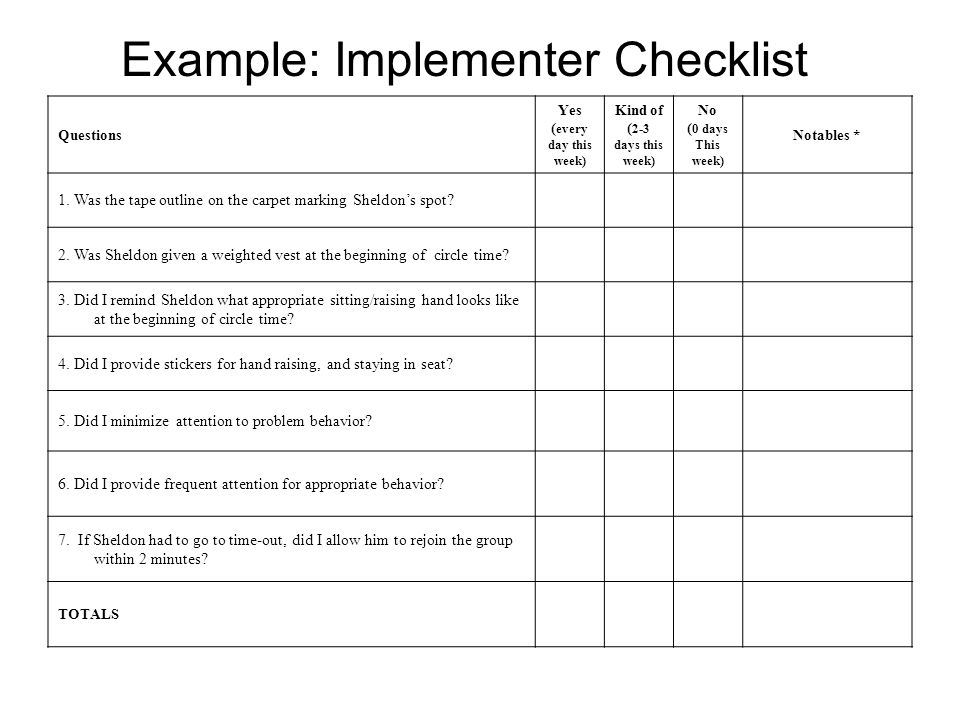 Example: Implementer Checklist