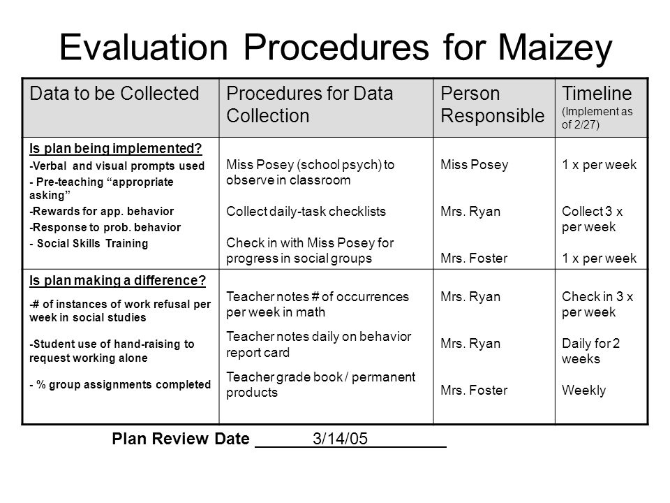 Evaluation Procedures for Maizey