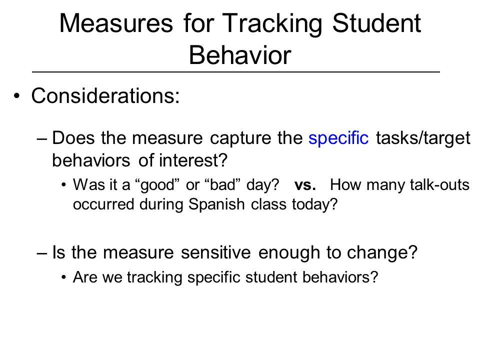 Measures for Tracking Student Behavior