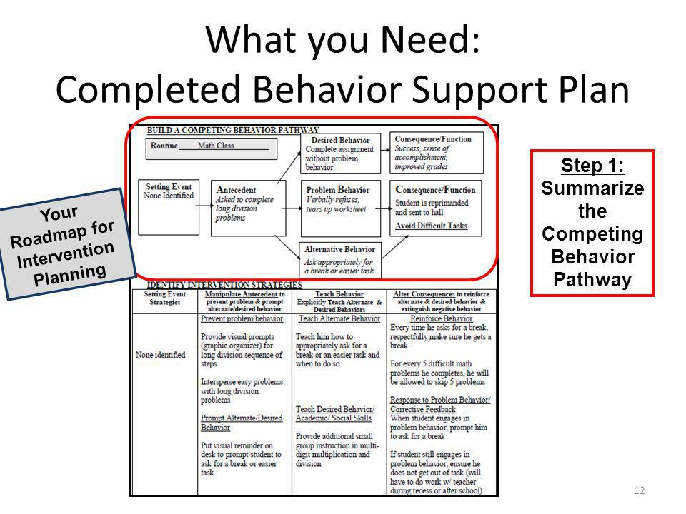 What you Need: Completed Behavior Support Plan