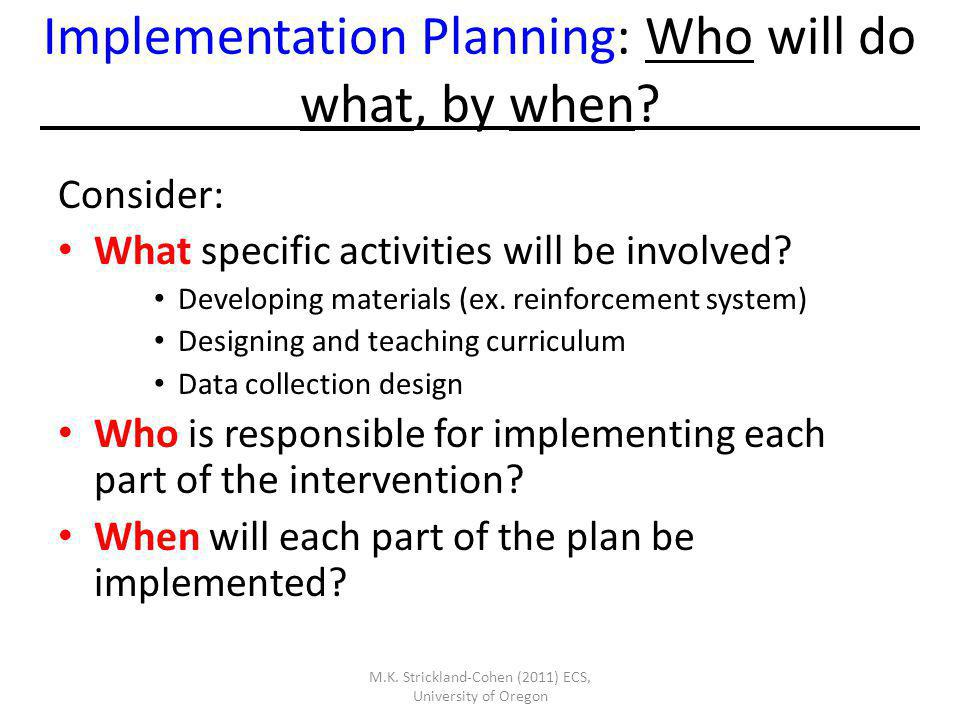 Implementation Planning: Who will do what, by when