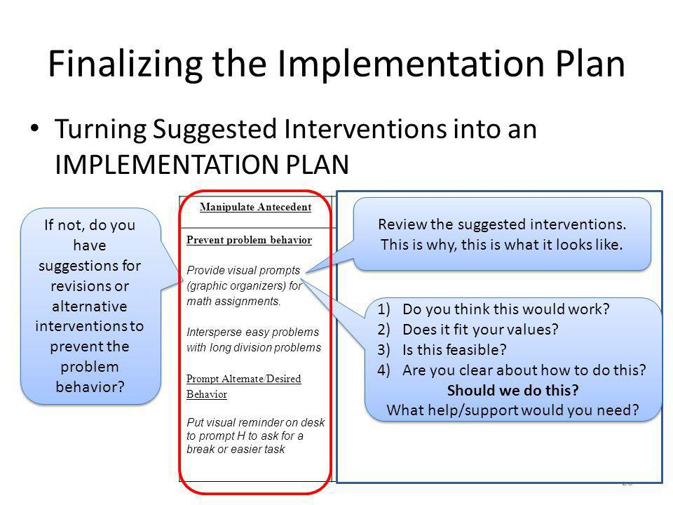 Finalizing the Implementation Plan