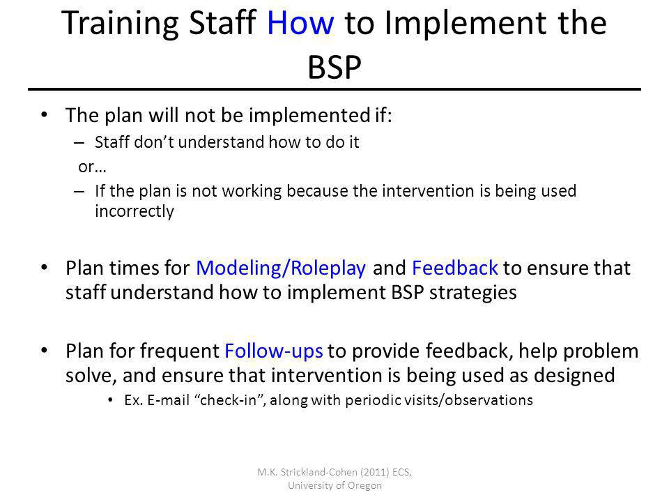 Training Staff How to Implement the BSP