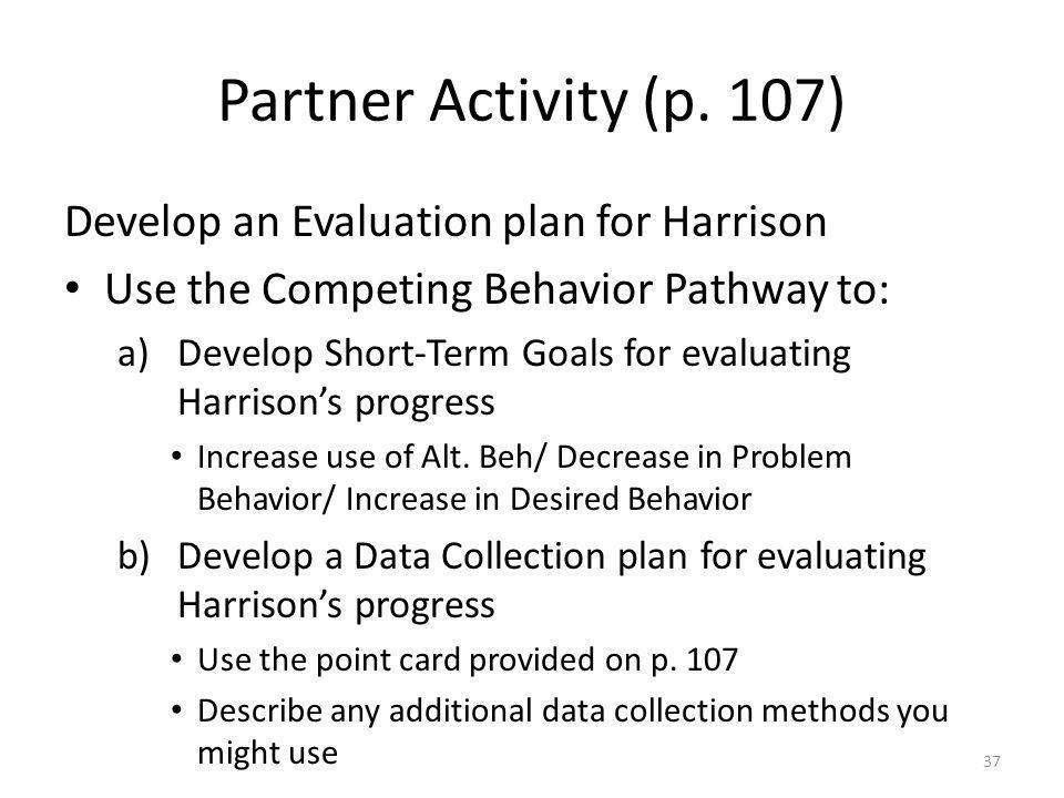 Partner Activity (p. 107) Develop an Evaluation plan for Harrison