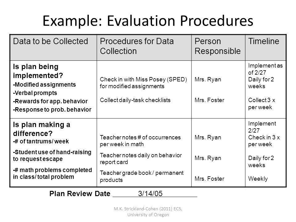 Example: Evaluation Procedures
