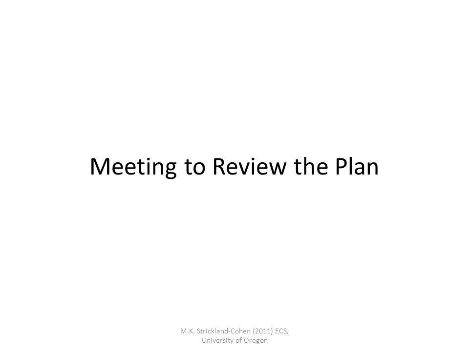 Meeting to Review the Plan