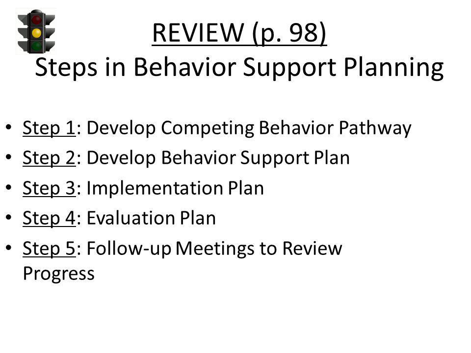REVIEW (p. 98) Steps in Behavior Support Planning