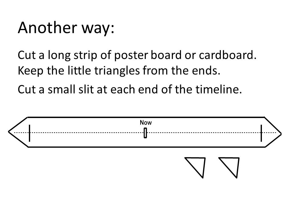 Another way: Cut a long strip of poster board or cardboard.